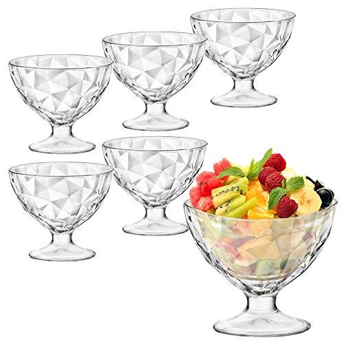 Bormioli Rocco gelato Sundae Piatto aperitivi-Bicchieri da Cocktail, confezione da 6, DiamondDesign