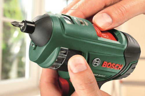 With easy bit changes without removing the head, the Bosch PSR Select Cordless Screwdriver with Integrated 3.6 V Lithium-Ion Battery is one of the easiest to use tools. A dozen bits are already available for you and there's room to include others if necessary. The lightweight construction of this tool makes it handy to use for extended periods and it feels comfortable in hand due to its soft-grip handle.