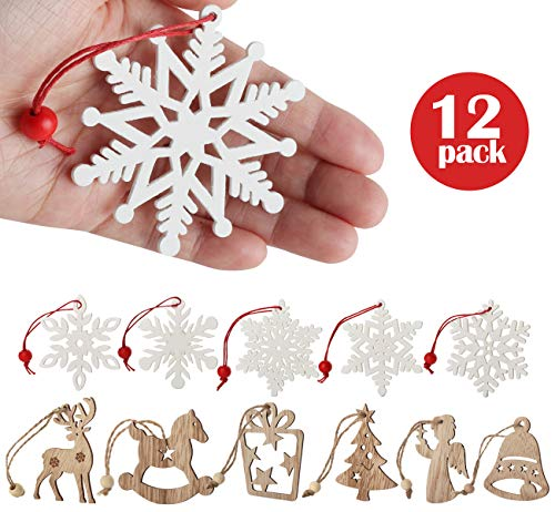 12pcs Natale Legno Ornamenti flocchi di nevelegno Decorazioni Abbellimenti di Legno Albero di Natale Stella Pupazzo di Neve Stile Vintage