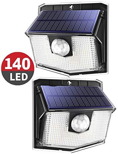 Solarlampen für außen【140 LEDs,Neue Version】Mpow Solarleuchte,270°Beleuchtungswinkel mit 3 Modi,IP67 Schutzart,led solar bewegungsmelder außen,Solarlampe für Garage,Hoftür,Treppen,Einfahrt-2 Stück