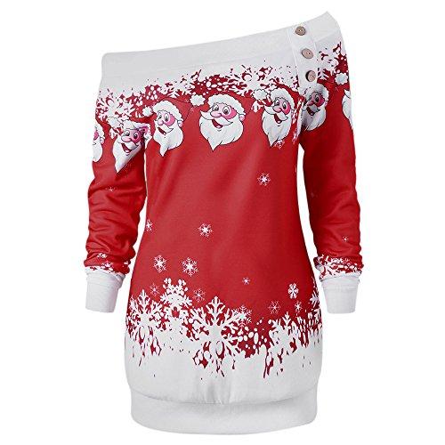 CharMma Damen Weihnachten Pullover Langarmshirt Santa Claus und Schnee Druck Sweatshirt (Dunkelrot, L)