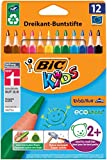 BIC Kids Evolution Triangle ECOlutions Colouring Pencils - Assorted Colours, Wallet of 12