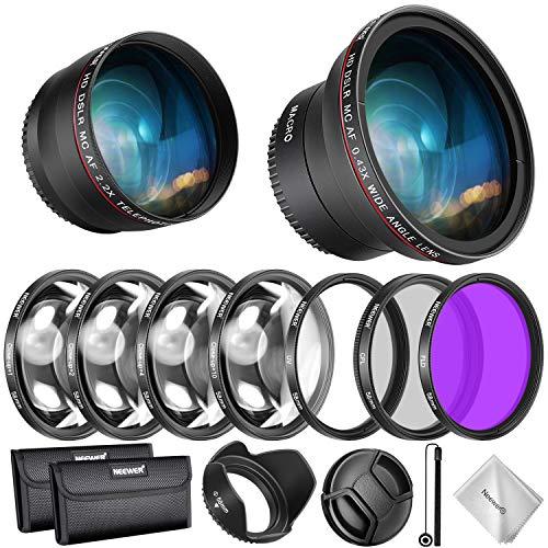 Neewer Filtri 58mm & Accessori per Obiettivo Canon Rebel EF-S 18-55mm: 0,43X Grandangolo, 2,2X Teleobiettivo, Filtri UV/CPL/FLD & Set Filtri Macro, Copriobiettivo, Parasole, Custodia ecc.