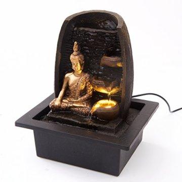 Bibiana Buda Dorado con Tazas de Agua y Fuente de Agua de Interior con luz LED, 21 cm x 18 cm x 25 cm 6