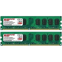 Komputerbay KB 4GB - Memoria RAM (DDR2, 800 MHz, 4 GB, 2 x 2 GB, 240-pin), Verde
