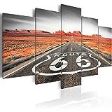 Quadro 200x100 cm ! Tre colori da scegliere - 5 Parti - Grande Formato - Quadro su tela fliselina - Stampa in qualita fotografica - Route 66 paesaggio nero bianco c-B-0020-b-o 200x100 cm B&D XXL