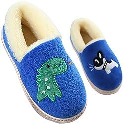 Gaatpot Zapatillas de Estar por Casa para Niñas Niños Invierno Interior Caliente Suave Antideslizante Dibujos Animados Dinosaurio Zapatos