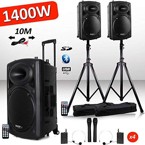 Sistema attivo amplificato, batteria 1400 W, port12 VHF, suono karaoke, musicisti, DJ, USB, Bluetooth, mobile + piedi