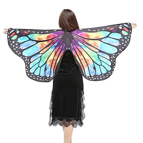 Disfraz de Alas Impreso Mariposa para Mujeres Chicas Chicas Capa de Muchacha Accesorio para Disfraz Playa Fiesta de Halloween Carnaval MMUJERY