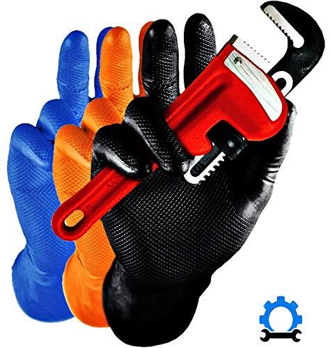 50x Guanti Monouso Anti Scivolo - Blu Power Grip Robusto Guanti in nitrile XL (9-10) Senza Polvere...