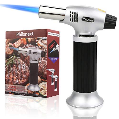 Philonext Torcia Cucina Accenditore a Torcia per Cucinare Fiamma Ossidrica Torcia a Gas per Cottura Alimenti Torcia Cucina per il Barbecue (Silver)