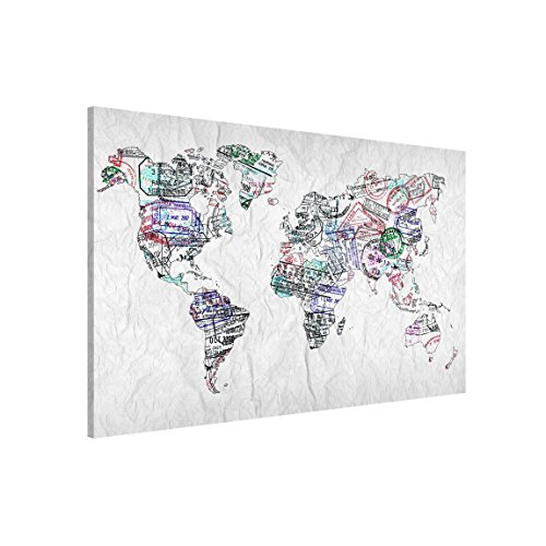 Bilderwelten Lavagna magnetica - Passport Stamp World Map - Formato orizzontale 3:2, pittura bacheca...