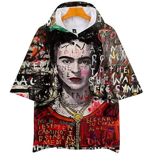 ALIDONE Frida Kahlo Pintor Mexicano Retrato 3D Camiseta de Manga Corta con Gorra para Hombres y Mujeres C XXXL