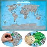 blupalu Rubbelweltkarte | 2 er Pack | Weltkarte zum Rubbeln | Version 2018 | in Silber | World Scratch Map