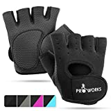 Proworks Ladies Fingerless Gym Gloves | Padded Weight Lifting Gloves for Women - Ideal as Cycling Gloves or for Lifting, Training, CrossFit, Rowing, Yoga & More - Black - Small