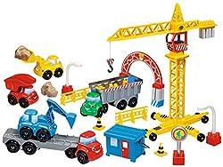 Dans ce coffret d'Abrick, votre enfant pourra jouer avec l'ensemble des véhicules de chantier. Avec la grue et son crochet, il aura la possibilité de soulever les accessoires inclus dans la boite (barrières, cubes). Les 4 autres véhicules de chantier...