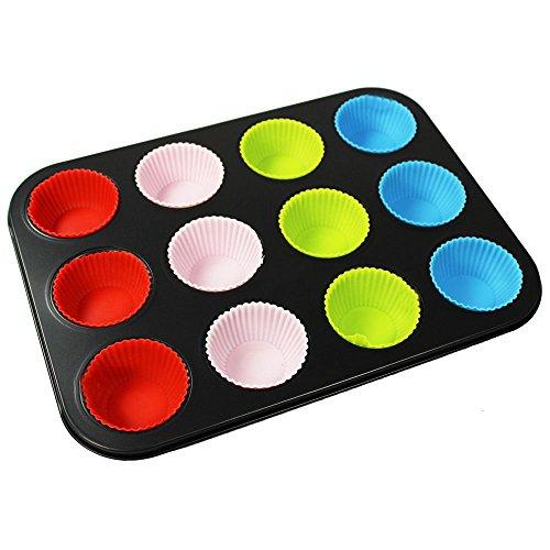 COM-FOUR Lattina per muffin in acciaio al carbonio con 12 stampi colorati in silicone, 35 x 26,5 cm...