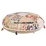 Cojín de suelo redondo bohemio, tradicional vintage indio puf suelo / taburete de pie, 100% algodón, cojín de decoración de arte, solo funda,Pouf 16, indio bohemio
