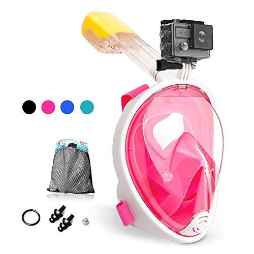 Dlife Maschera da Snorkeling, Maschera Subacquea Full Face 180 ° Visualizza Design Panoramico, Facciale Anti-Appannamento e Anti-Infiltrazioni per Bambini e Adulti (Rosa, L/XL)