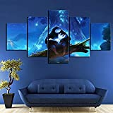 LVQIANHOME Stampe E Quadri su Tela Axqisql Opera d'Arte su Tela per Decorazioni Murali 5 P HD Fantasy Art Cartoon Immagini da Parete Ori And The Blind Forest Game Poster Paintings-Senza Telaio