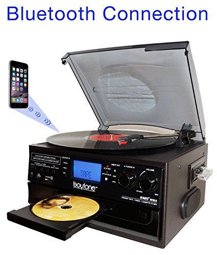 Boytone BT-22B Bluetooth Record Player Turntable with AM/FM Radio, Cassette and CD Play Support