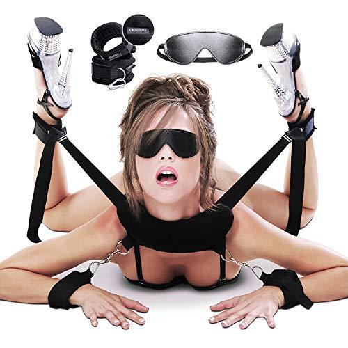 CKSOHOT SM Bondage Set BDSM Fesselset SM Sexspielzeug Extrem Betten Fesseln mit Handschellen mit Augenmaske für Paare Gays, für Einsteiger und Erfahr (Fesselset)