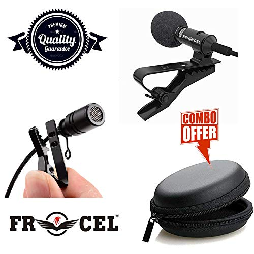 frocel Lavalier Lapel Coller Microphone Kit with Voice Recording Filter Mic for Record on Smartphones (Black)