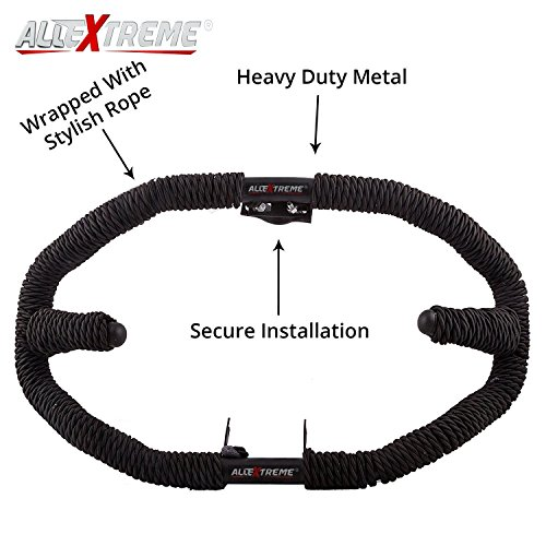 AllExtreme Heavy Duty Metal With Rope Stylist Real Customized 8 Bend Black Rope Safety Leg Crash Guard For Royal Enfield Bullet Classic 350 / 500, Standard and Electra
