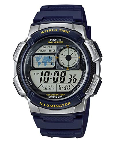 Casio Collection AE-1000W-2AVEF, Orologio con Luce LED da Uomo, Multicolore/ Blu