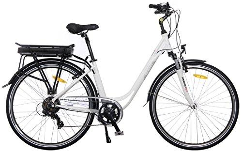 """Ebici City 5000 Eco 36V, Bicicleta eléctrica de 28"""" Pulgadas, Pedelec para Hombres y Mujeres, Rueda para Ciudad, E-Bike, Motor Trasero 250W, batería de Iones de Litio 11Ah 396Wh"""