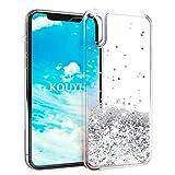 KOUYI Cover iPhone XS/X, 3D Glitter Chiaro Liquido Silicone TPU Bumper Telefoni Telefono Cellulari Protezione Cover,Luxury 3D Bling Protettiva Case Custodia per Apple iPhone X (Argento)
