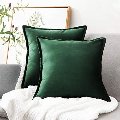 Bedsure Federe Cuscino Divano in Velluto - Federa Cuscino Decorativo Verde Scuro Quadrato 45 x 45 cm...