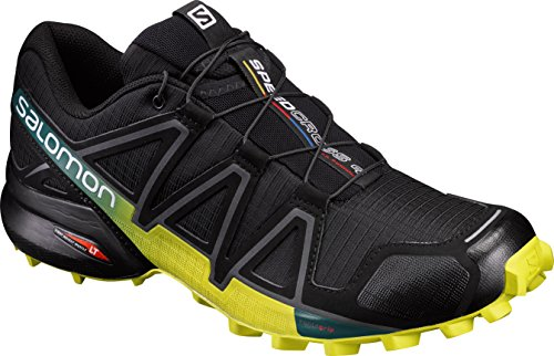 Salomon Speedcross 4, Scarpe da Trail Running Uomo, Nero (Black/Everglade/Sulphur Spring), 44 EU