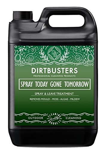 Dirtbusters Spray Today Gone Tomorrow 5 Litre Patio Decking Fence Drive Cleaner extra strength formula which removes Mould Mildew Moss Algae Lichen Killer Green Growth Remover (1)
