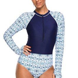 Donna Manica Lunga Costume da Bagno Rashguard Tankini Sets per Quali Sport Acquatici,Snorkeling,Surf 2 Pezzi