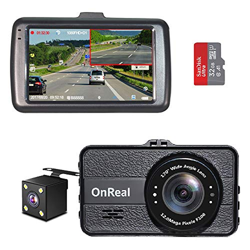 "OnReal Dual Dash Cam 3"" Full HD Front and Rear Dash Cams Wide Angle Camera with G-Sensor WDR Loop Recording Parking Monitor Motion Detection 32GB SD Card Included"