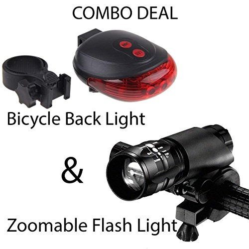 AlexVyan Combo of LED-Laser Tail Light, Zoomable Mode Bicycle Headlight, LED-Flashlight Front-Bicycle Light Lamp Mount Torch and Holder Clip-Mount