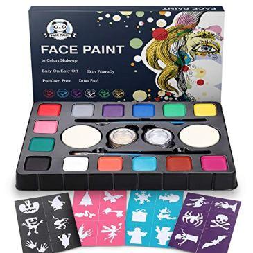 Palette de Maquillage de Fête, Dookey 16 Couleurs Peinture de Visage, Palettes de Peinture de Visage à Base d'eau avec 2 Bouffées de Poudre et 2 Brosses et 4 Autocollants
