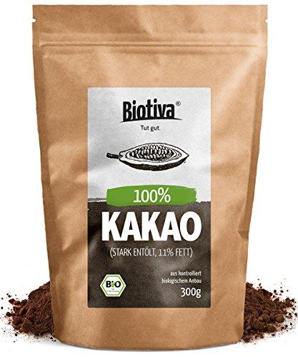 Bio Kakao Pulver (300g) - 100{eb4fe7d76c7bd79eec8754eafb592cee32af012d72019b56ba2050672952a2a2} reines Kakaopulver stark entölt (11{eb4fe7d76c7bd79eec8754eafb592cee32af012d72019b56ba2050672952a2a2} Fett) - ohne Zucker - ohne Zusatzstoffe - hochwertigste Biotiva Qualität - Abgefüllt und kontrolliert in Deutschland (DE-ÖKO-005)