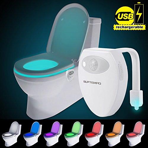 Suptempo WC luce notturna LED con sensore di movimento attivato USB ricaricabile impermeabile WC...