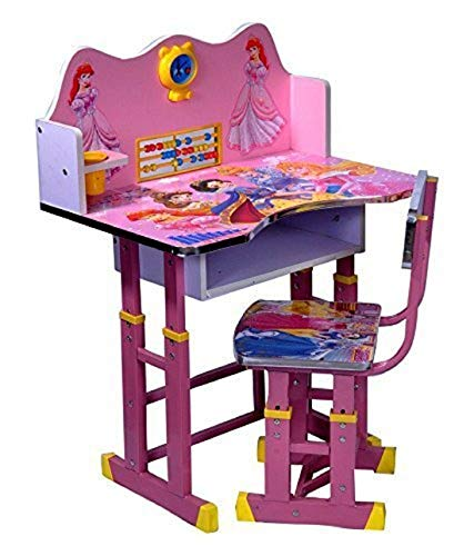 Kiddyy Study Table and Chair Set for Kids Learning Activity Educational Adjustable Desk (Wood Pink)