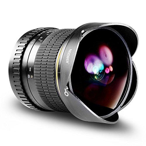 Neewer Pro 8mm f/3.5 Messa a FuocoManuale Asferico HD Fisheye Lens per Canon DSLR EOS 80D, 77D,...
