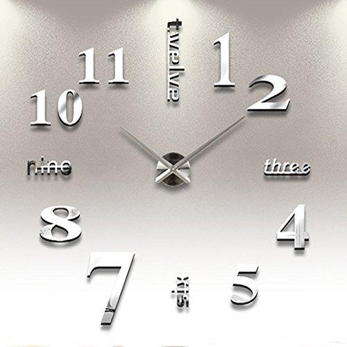 Reloj de Pared 3D con Números Adhesivos DIY Bricolaje Moderno Decoración  Adorno para Hogar ... 9c7ce39e08aa