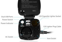 BESTEK Transformateur 12V en 220V 230V Chargeur Allume Cigare 200W pour Voitures avec 2 Ports USB et Prise de Sortie Française, Gobelet Rouge Achat
