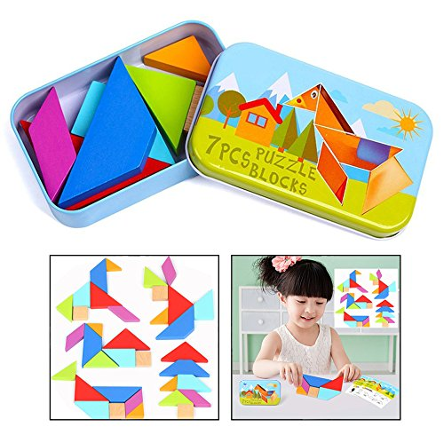 OFKPO Tangrams Puzzles Tangram Giochi Educativi in legno per Bambini