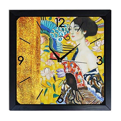 Orologio da parete in Legno Gustav Klimt - signora con ventaglio