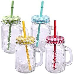 Pack de 4 vasos de cristal con tapa, asa y pajita, 500 ml