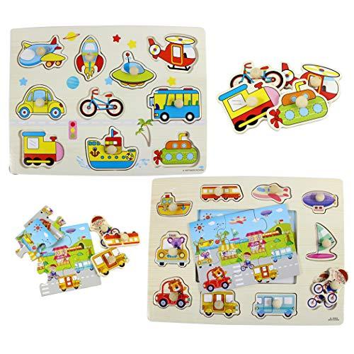 Hillento Pegged Puzzle in Legno, Puzzle dei Bambini di Legno ancorato di Puzzle, l'apprendimento...