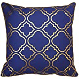 Moroccan style rich blue with gold pattern cushion