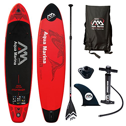 Aqua Marina Monster Modell 2018 12.0 iSUP Sup Stand Up Paddle Board mit Sport II Paddel, Rot schwarz, 365cm x82cm x 15cm
